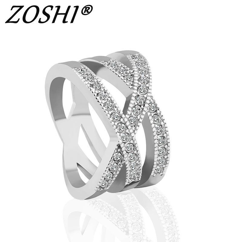 ZOSHI 2017 Fashion Engagment Ring Cross Crystal Cubic Zirconia CZ Band Wedding Rings For Women Wholesale Gold Silver Plated Ring