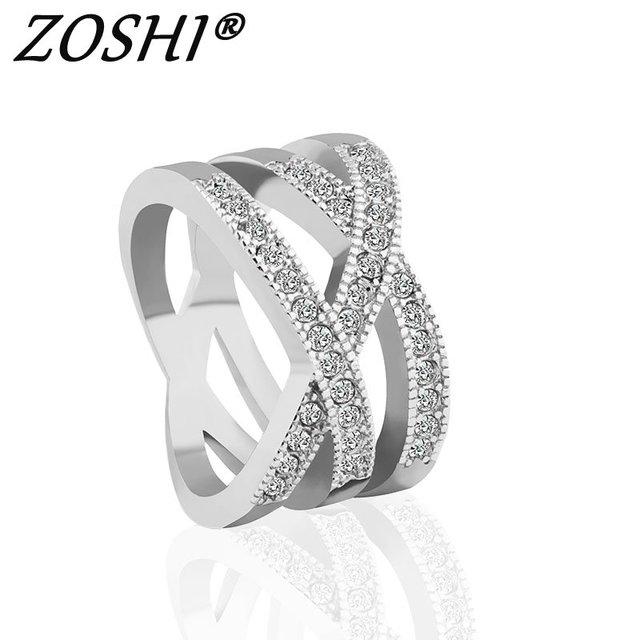 ZOSHI 2017 Fashion Engagment Ring Cross Crystal Cubic Zirconia CZ Band Wedding R
