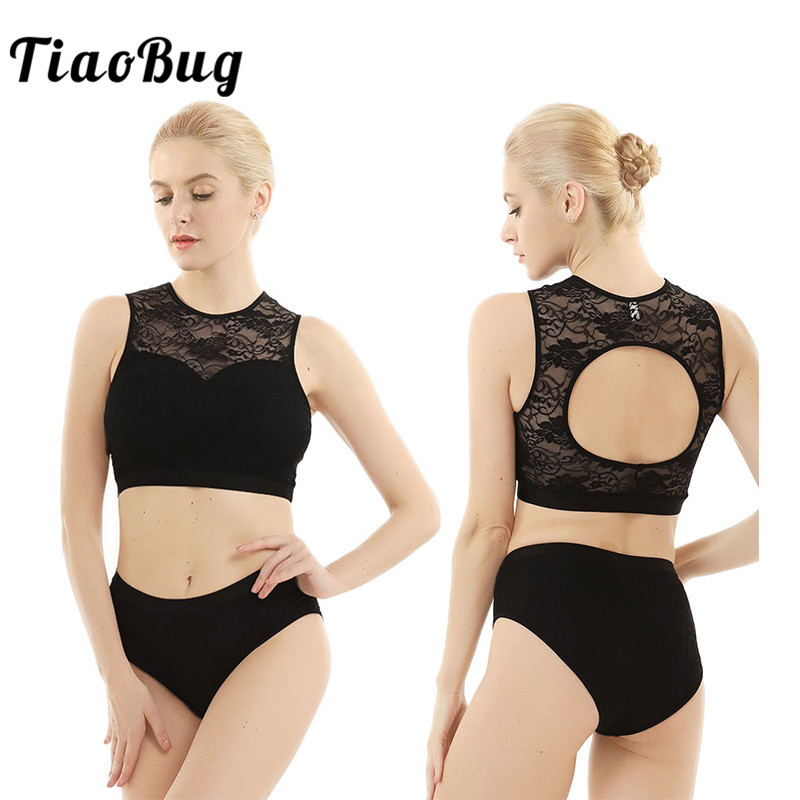 TiaoBug Women Sleeveless Back Hollow Activewear Lace Suits Sports Dance Wear Set Crop Tops With Hot Shorts Fitness Dance Costume