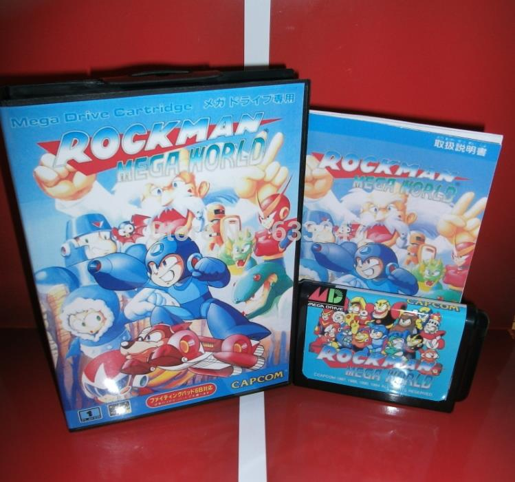 Sega games card – Rock Man RockMan – Mega World with box and manual for Sega MegaDrive Video Game console system 16 bit MD card