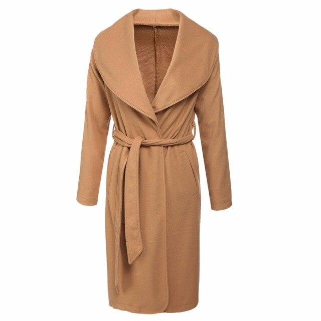 Spring Autumn Winter Draped Cardigan Women Trench Basic Long Coat Female Wool Windbreaker Overcoat Lady Manteau Laine Femme 2016