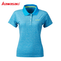 Kawasaki Badminton Shirts Women Tennis Shirt Breathable Short sleeved T Shirt For Female Gray T shirt ST S2117