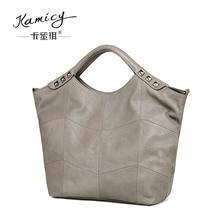 2017 Genuine Leather Bamboo  Women  Handbag  Fashion  Shoulder  bags  Rivets  adornment  big bag   summer Women's  messenger bag