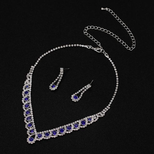 New Royal Blue Crystal Bridal Jewelry Set 3