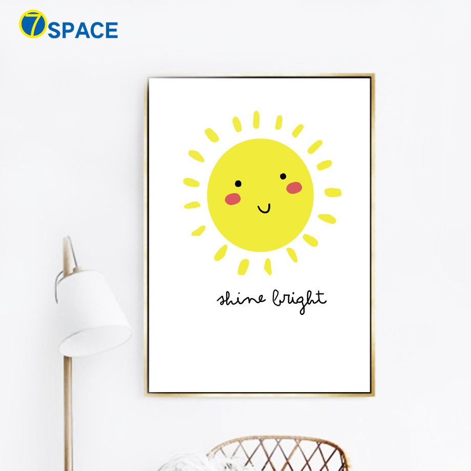 Cartoon Cloud Moon Sun Posters And Prints Wall Art Canvas Painting ...