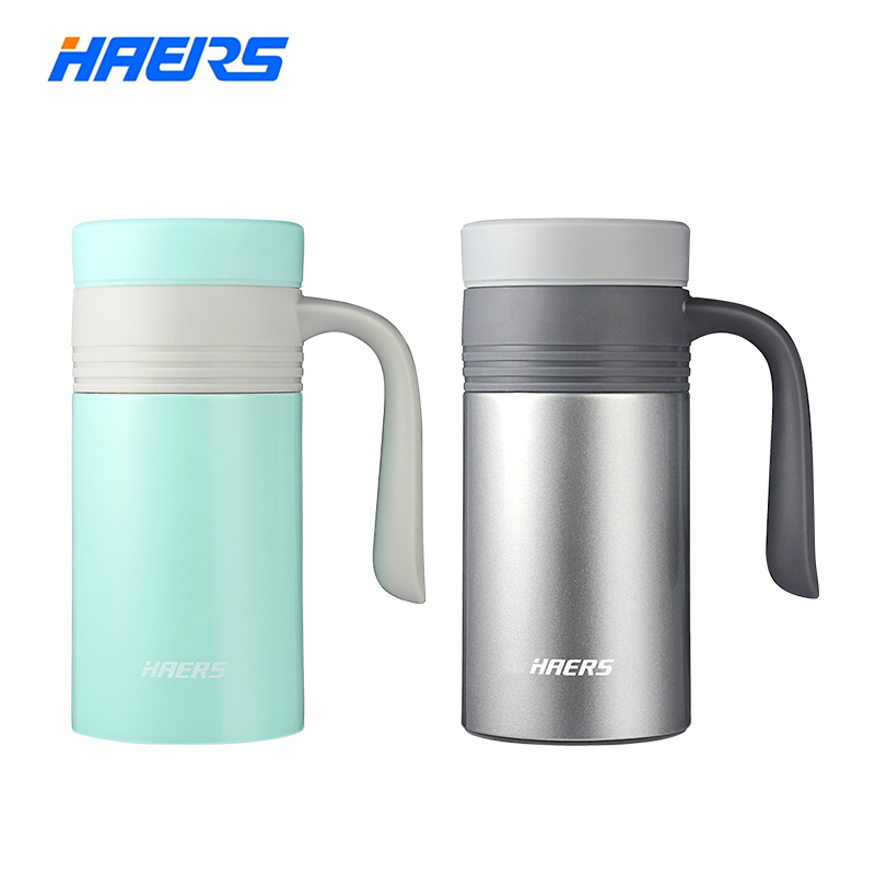 Haers Vacuum Insulated Stainless Steel Thermo Mug Leak Proof Coffee Thermos With Handgrip 380ml