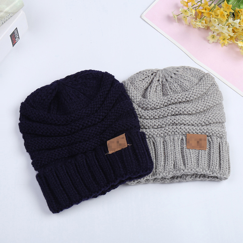 Winter Knitted Wool Baby Hat Unisex Girl Boy Kids Folds Casual Labeling Beanies Solid Color Hip-Hop Skullies Cap