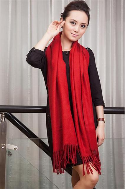 2014 New Fashion Red Cashmere Pashmina Shawls Scarf Korean Version Tassels Craves Wrap Solid Color SW05-C