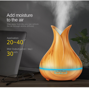 Night lamp 400ml electric Aroma Diffuser lamp Air Humidifier Wood Grain 7 Colourful LED Night Light for home bedside lamp