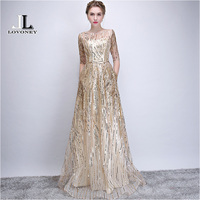 LOVONEY Robe De Soiree Half Sleeves Long Evening Dresses with Belt Sequins Formal Dress Women Occasion Party Dresses YS449