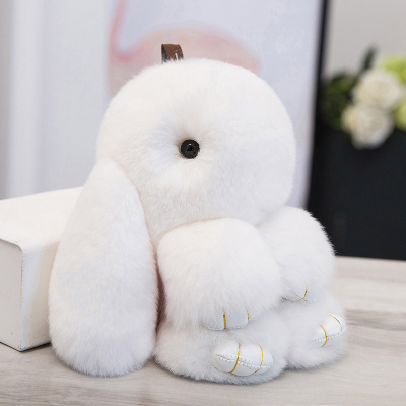 18CM Fluffy Bunny Keychain Real Rex Rabbit Fur Keychain For Women Hand Bag Pendant Car Charm Keyrings Holder Jewelry