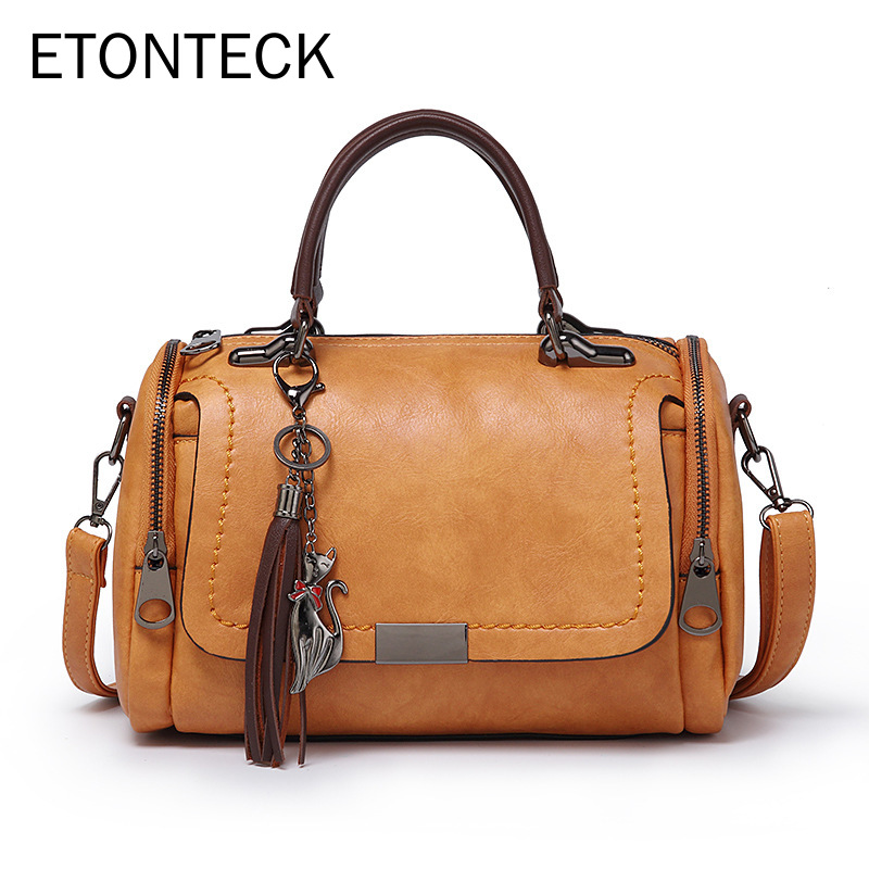 ETONTECK 2019 New Arrival Fashion Woman Bag Shoulder Bag For Ladies Retro PU Leather Handbag Female Tassel Zipper Crossbody Bags