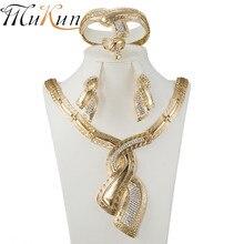 MUKUN 2017 New African pearl bride crystal jewelry Dubai golden color set romantic necklace earring bracelet