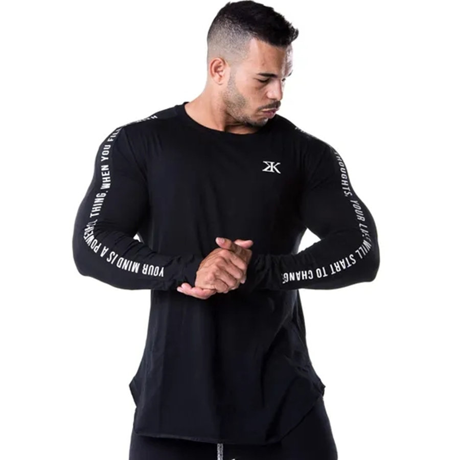 Men Skinny Long sleeve Shirts Spring 2019 Casual Fashion Printed T-Shirt Male Gyms Fitness Black Tee shirt Tops Brand Clothing 5