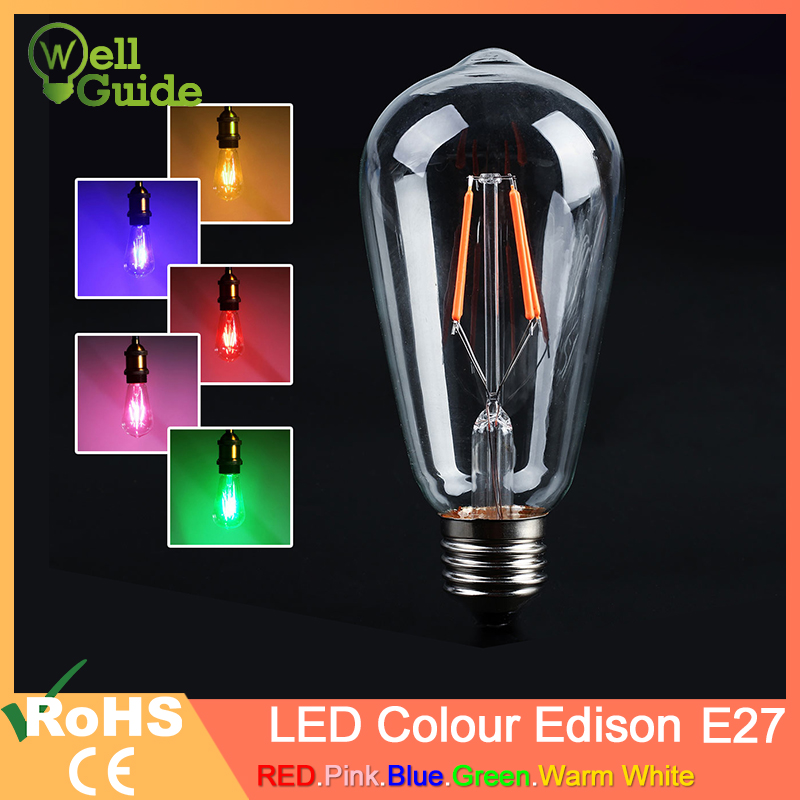 NEW Blue Red Pink Green Color Led Edison Filament Light ST64 COB LED Bulb Lamp 220v E27 Retro Globe Replace
