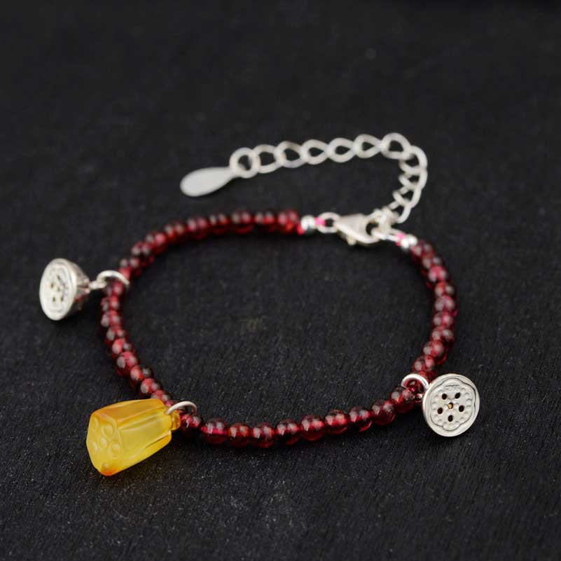FNJ 925 Silver Bracelet 3mm Red Stone Bead 20cm 25cm Chain Lotus Charm Thai S925 Silver Bracelets for Women Jewelry 925 sterling silver expandable bracelet for women vintage lotus charm flowers engraved bracelets