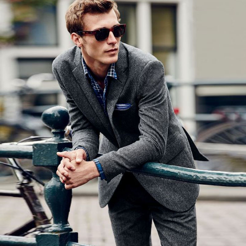 Latest Grey Notched Lapel Man's Suit Wedding Tweed Custom blazer classic jacket slim fit Tailored Tuxedos Winter Coat 2 pieces