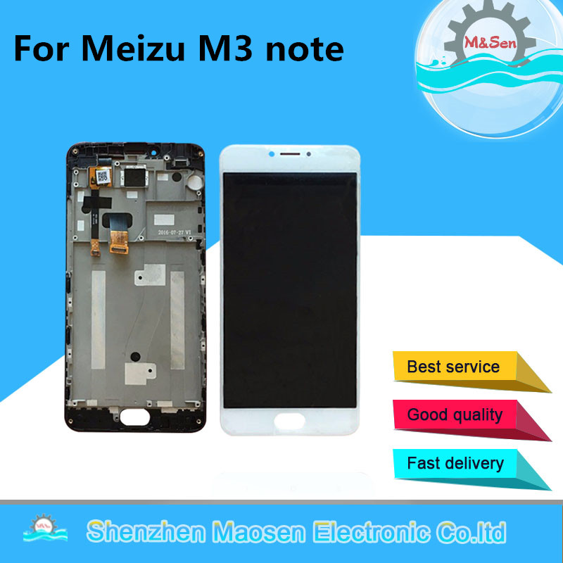 M&Sen LCD screen display+touch digitizer with frame For Meizu m3 note M681Q (NOT for L681H) free shipping lcd screen display touch digitizer with frame for meizu m5s meilan 5s m612h m612m white black 5 2 inch lcd free shipping tools