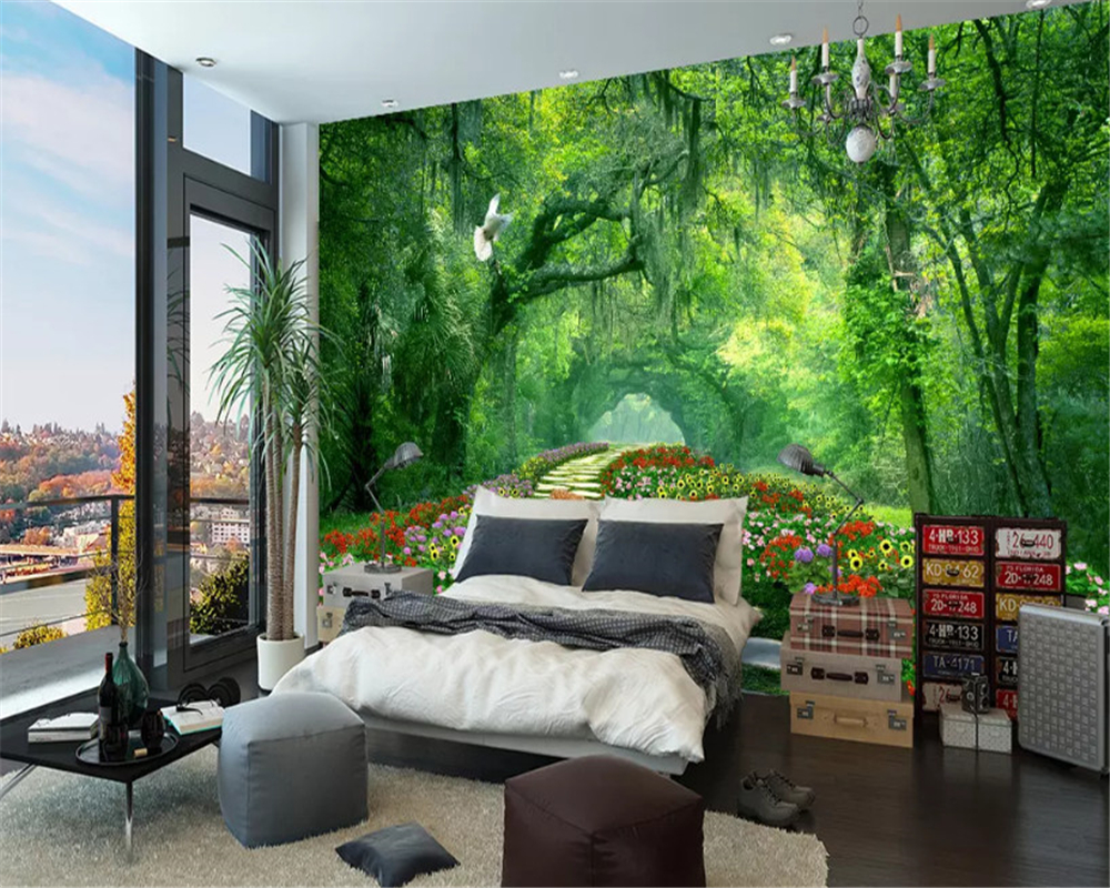 beibehang Custom size Modern Stereo Wallpaper Woods Park Green Shade Road 3d Landscape Background papel de parede papier peint in Wallpapers from Home Improvement
