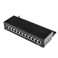 Mini Desktop CAT 6 12 port Patch Panel Full Shielded, Available For Wall Mounting (bottom plate with wall mount screw holes)