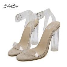 Silentsea saltos transparentes sapatos femininos de verão sandálias sexy moda saltos claros para sapatos femininos tamanho grande dropshipping