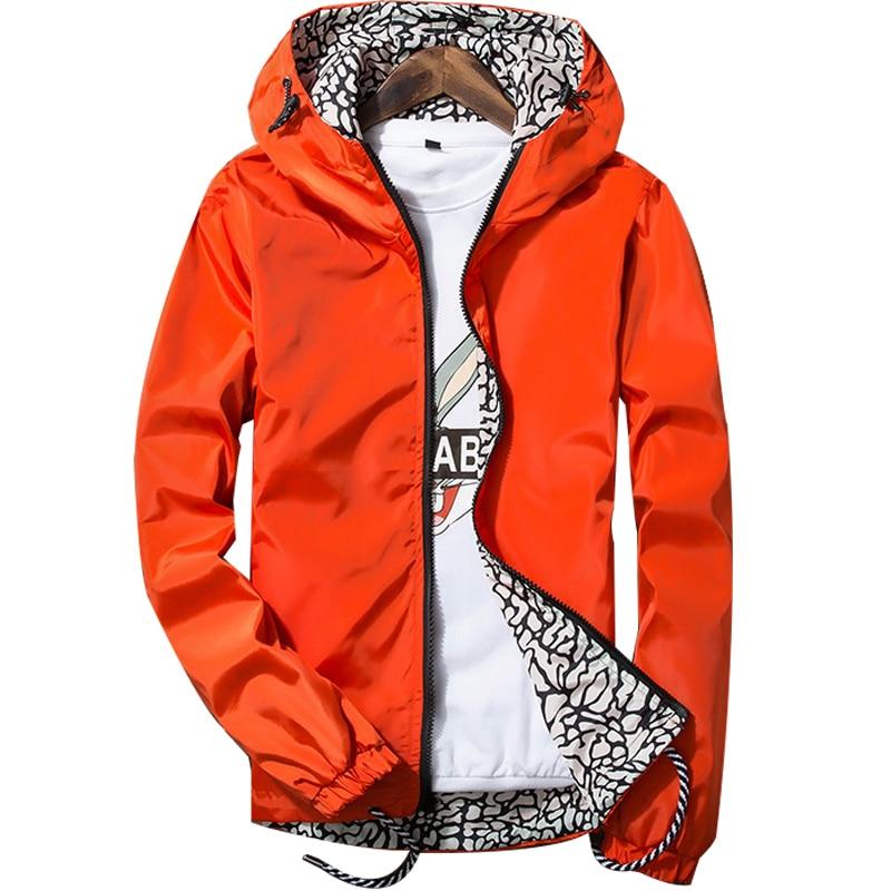 Double Side Men's Jackets and Coats 2017 Hooded Thin Sunscreen Coat Men/Women Teenager Waterproof Lightweight Zipper Jackets 3XL