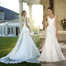 Best Selling Spaghetti Straps Trumpet Mermaid Wedding Dresses Lace Applique Sweep Train Bridal Gowns yk1A582