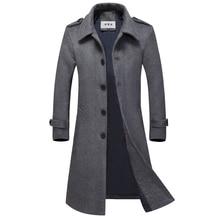 Autumn Men's Wool Coat Slim Men Middle Long Coats And Jackets Solid Male Manteau Homme Overcoat Wool Blend Coat Men 6003