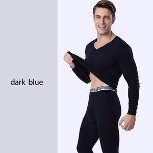 Image 3 - Herbst und winter thermische unterwäsche für männer 100% baumwolle lange unterhosen V ausschnitt männer kleidung