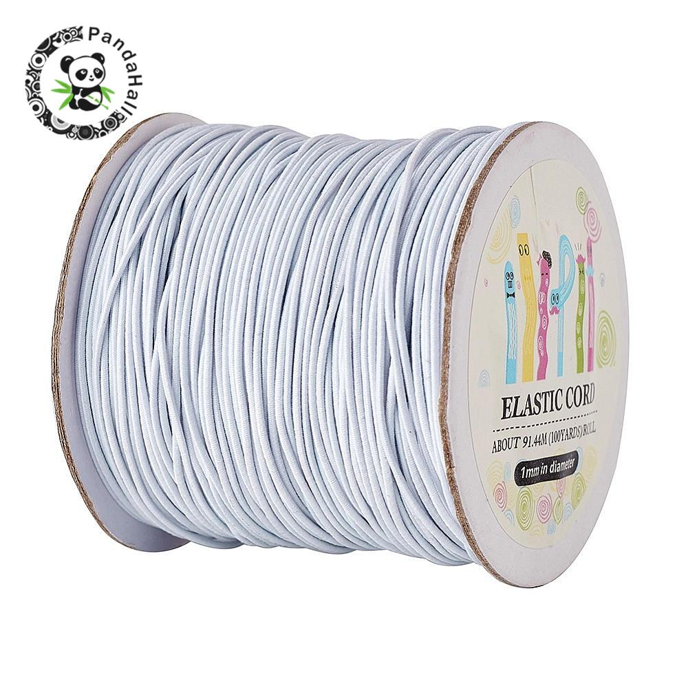 1Roll White Round Elastic Cord with Nylon Outside Rubber Inside 1mm about 100m