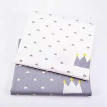 2PCS/Lot Cotton Twill Printed Fabric DIY Sewing Cloth Crown Printing Material For Handmade Home Textile Bedding