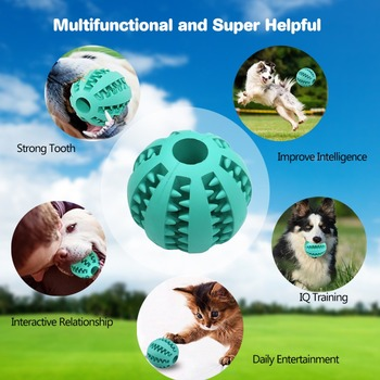 Pet Dog Toys Extra-tough Rubber Ball Toy Funny Interactive Elasticity Ball Dog Chew Toys For Dog Tooth Clean Ball Of Food 30S1 1
