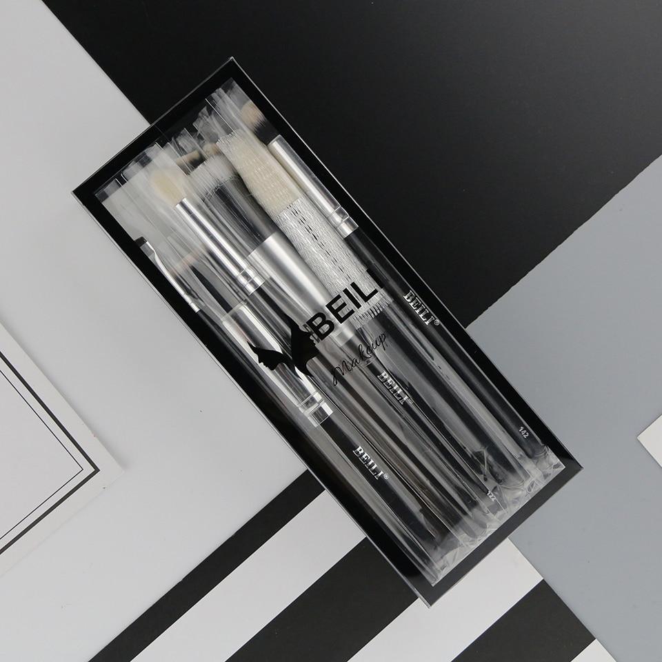 BEILI 12 pieces Black Premium goat hair Synthetic Powder Foundation blusher eye shadow Concealer Makeup brush set Cosmetic bag цена