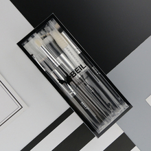BEILI 12 pieces Black Premium goat hair Synthetic Powder Foundation blusher eye shadow Concealer Makeup brush set Cosmetic bag