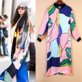[TWOTWINSTYLE] 2017 Summer Silk Satin Long Sleeved Print Sunscreen Loose Women Dress New