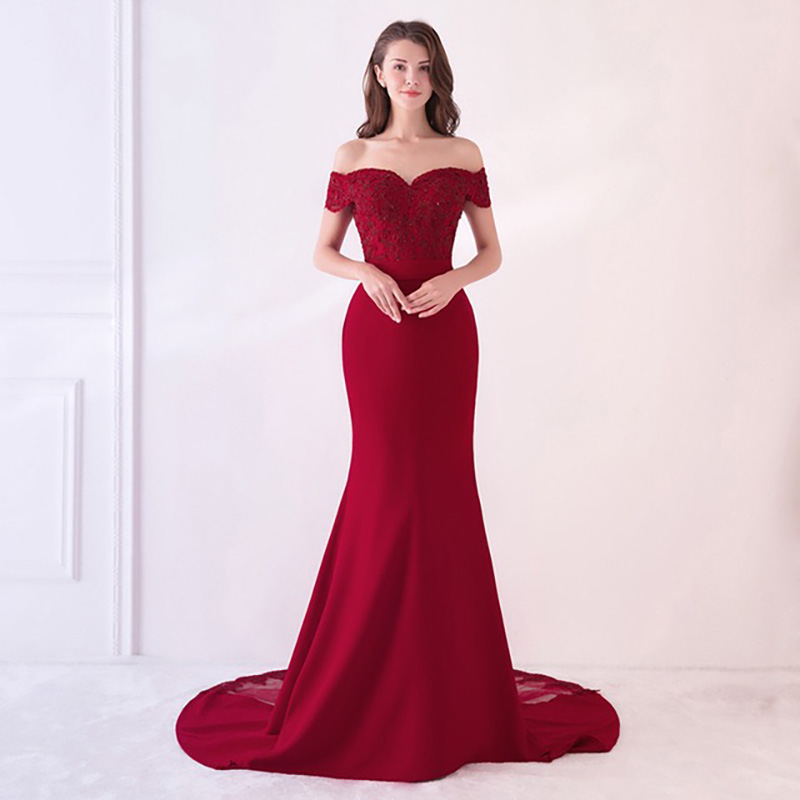 D130 red elegant high quality hot sale Off the shoulder bridal floor length dress