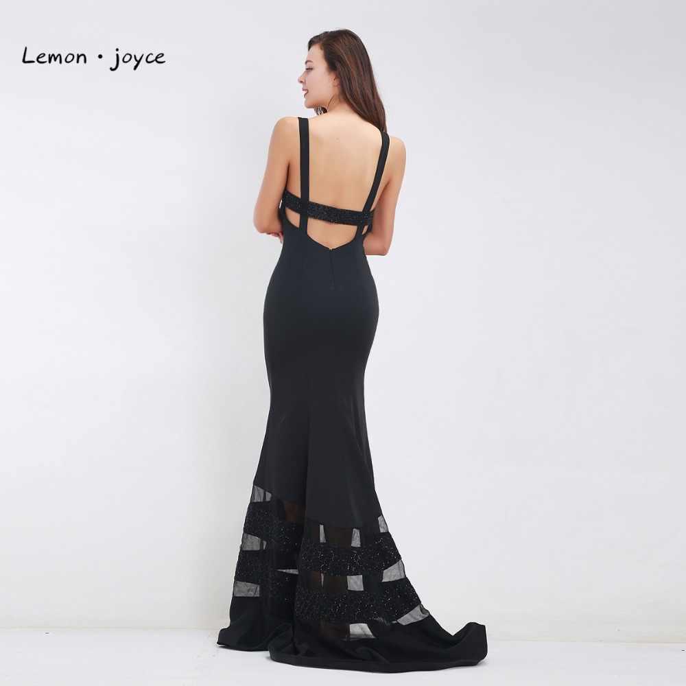 ... Long Black Evening Dresses 2019 Women Sexy Deep V-neck Backless  Sleeveless Beading Floor Length ... cb01c5114842