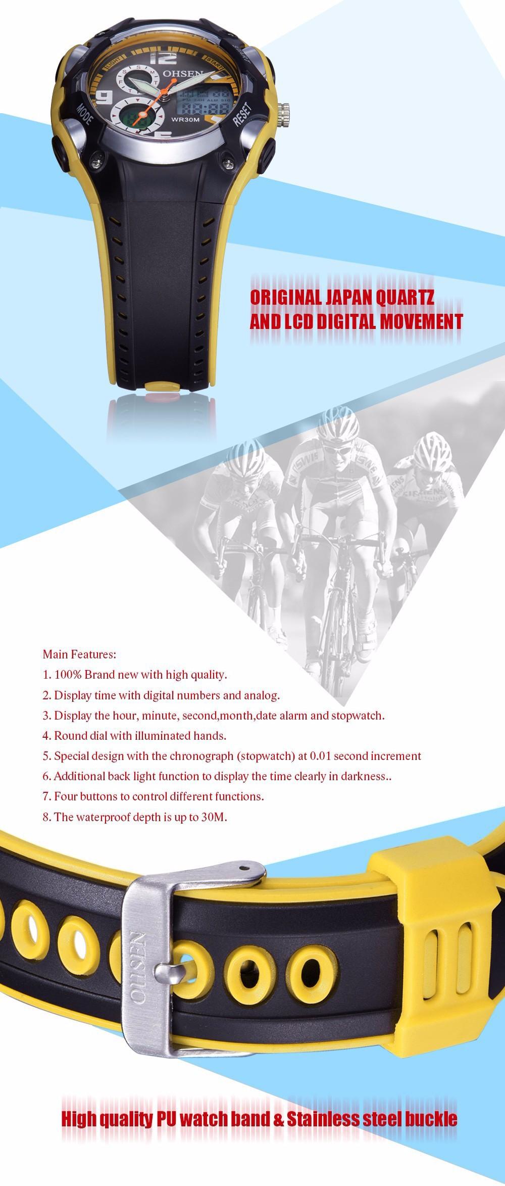 Original Ohsen Brand Fashion Sports Men's Watches 30M Waterproof Rubber Black Rubber Band Digital Sport Wristwatch for Men Gift (18)