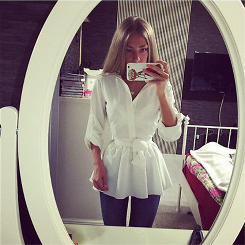 Autumn New Fashion font b Womens b font Loose White Button Dress Tops Long Sleeve Turn