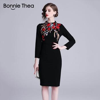 8d77718be Bonnie thea sexy bodycon negro mujeres primavera vestido otoño mujer  elegante vestido sexy fiesta ...