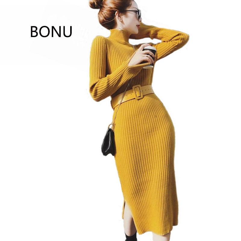 BONU Autumn New Knitted Sweater Dress Simple Elegant Bodycon Dress Female Long Sleeve Split Dresses For Women Vestidos