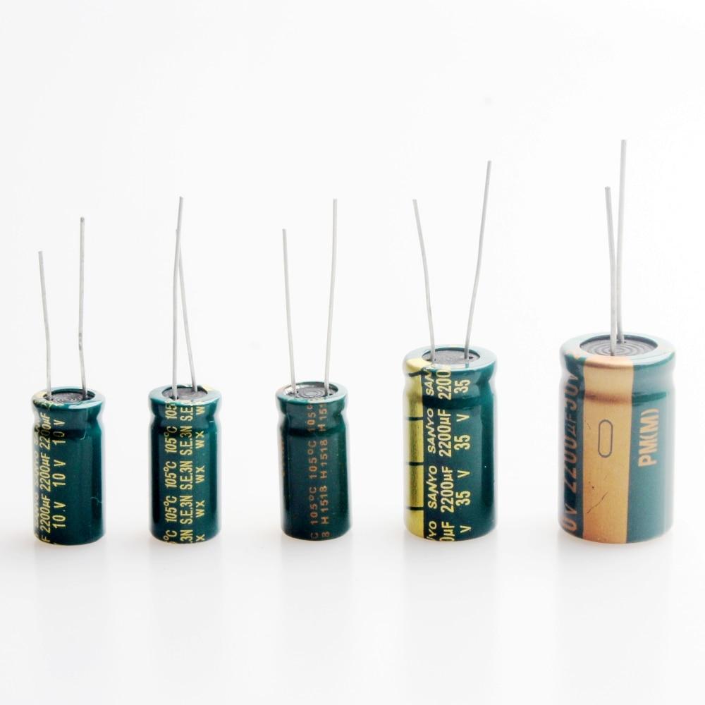 2200UF 6.3V 10V 16V 25V 35V 50V High-frequency Electrolytic Capacitors (Pack Of 10)