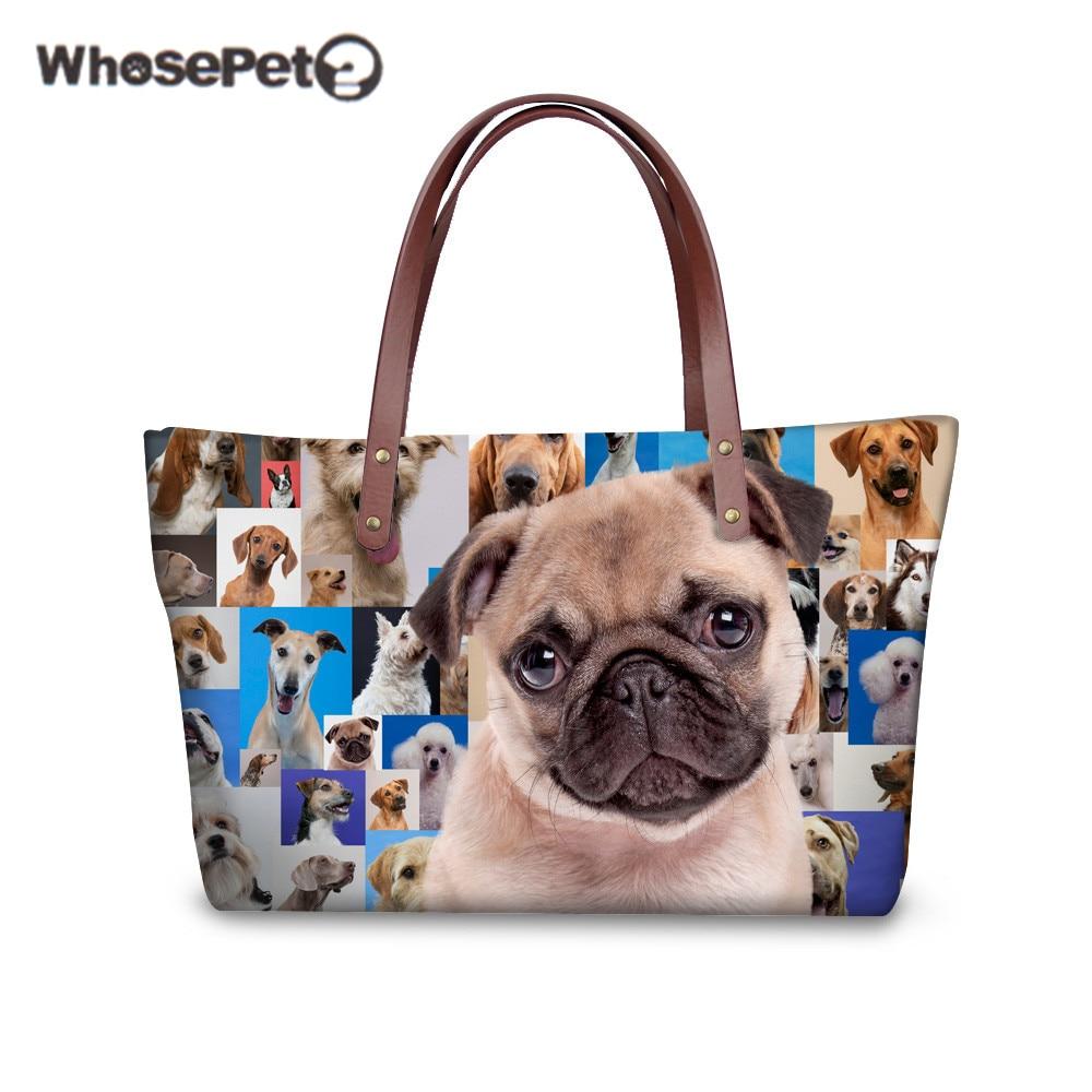 WHOSEPET Shoulder Bag Bulldog Rottweiler Printing for Women s Fashion Handbags High Quality Large Capacity Casual