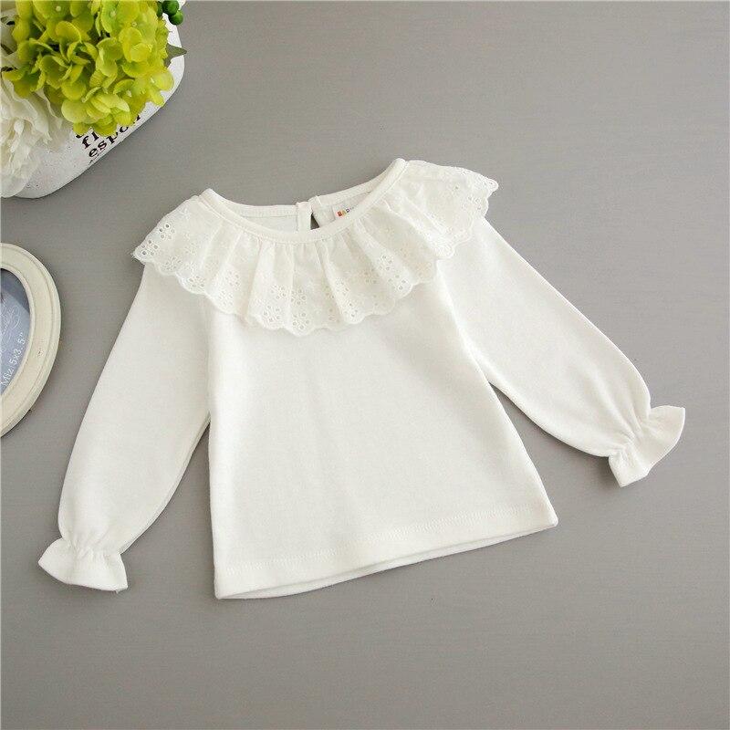 Underwear T-Shirt Girl Autumn Kids Children New Lace Spring Cotton Tees White