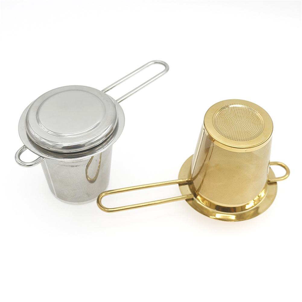 Stainless Steel Mesh Tea Infuser Tea Strainer Teapot Tea Leaf Spice Filter Drinkware Kitchen Accessories Foldable With Lid