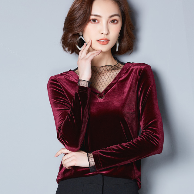 2a62ddcd8c7 New Spring Fall Gold Velvet Tops Long Sleeve Shirts Women Fashion Slim Pullover  Plus Large Size Bottom Tee Shirts