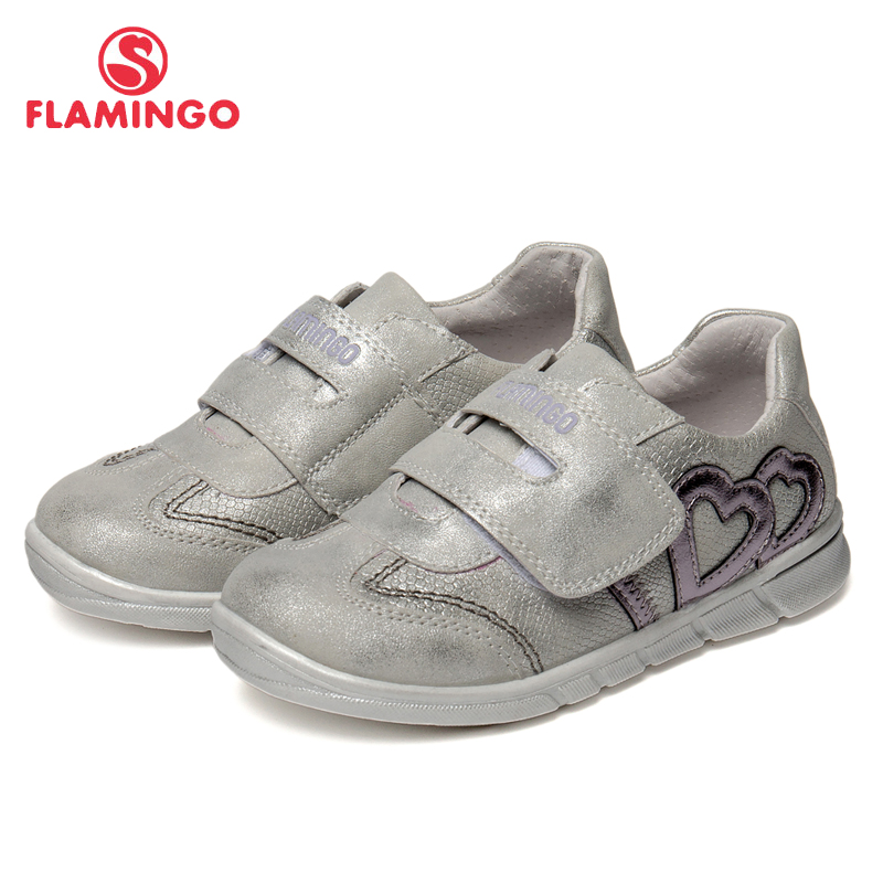 FLAMINGO Geometic Spring& Summer Breathable Leather Hook& Loop Size 25-30 Outdoor Kids Sport Shoes for Girl 91P-XY-1158 flamingo print spring genuine leather breathable hook