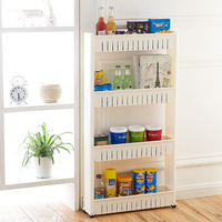 Bathroom Organizer Movable Plastic Interspace Storage Rack Refrigerator Space with Roller Shelves Kitchen Shelf Slide