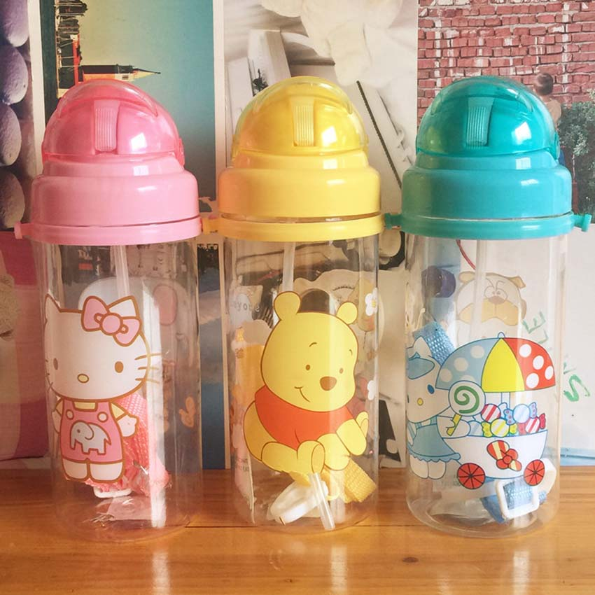 400ML Baby Water Bottle Plastic Sports for Kid with Straw Leak proof Drinking