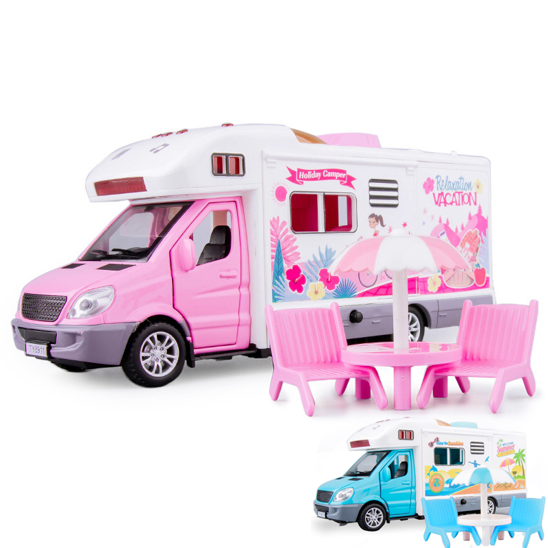 1:32 Motor Caravan Travel Tour Car Camper Motorhome Recreational Vehicle RV Trailer Play Home Baby Toys For Girls Boys